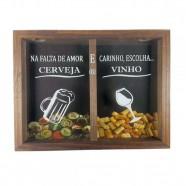 Porta Rolha De Vinho E Tampinhas Art Frame Decoração Tabaco