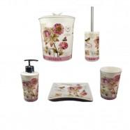 Kit Banheiro Porcelana Chocolat Lonbart Design 5 Pçs Amigold