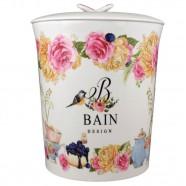 Lixeira para Banheiro Porcelana Bain Design Flores Amigold