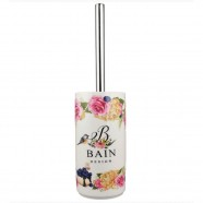 Porta Escova Sanitária Porcelana Bain Design Flores Amigold