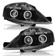Par Farol Daylight C3 Black Foco Duplo Angel Eyes Led 2003 a 2012 - Automotive Imports