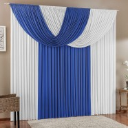 Cortina para Sala 4,00m X 2,80m Suellen Malha Azul e Branco
