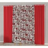 Cortina para Sala 4,00m X 2,60m com Malha Estampada Vermelho