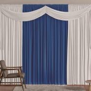 Cortina para Sala 4,00m X 2,60m Versátil Malha Azul e Branco