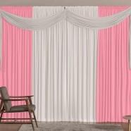 Cortina para Sala 4,00m X 2,60m Versátil Malha Rosa e Branco