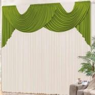 Cortina para Sala 4,00m x 2,80m Lívia Tecido Malha Verde