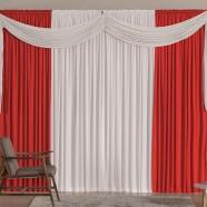Cortina para Sala 4,00m x 2,60m Versátil Malha Vermelho