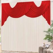 Cortina para Sala 4,00m x 2,80m Lívia Tecido Malha Vermelho