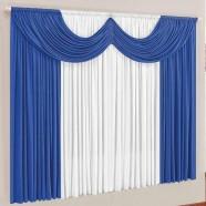 Cortina para Sala 4,00m x 2,80m Paris Malha Azul e Branco