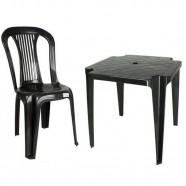 Conjunto Mesa 4 Cadeira Bistrô Preto Plástico Antares