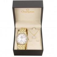 36d70383c7f Kit Relógio Elegance Champion Feminino Dourado CH24624W