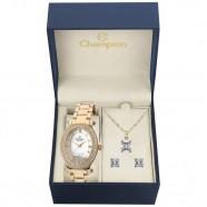 Kit Relógio Champion Feminino Dourado Oval com Strass