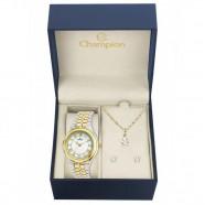 Kit Relógio Champion Feminino Prata e Dourado CH22957D