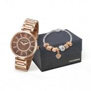 16370deca1e Kit Relógio Mondaine Feminino com Pulseira Rose 53617LPMKRE3