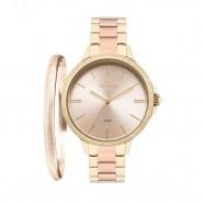 ad13afee3c7 Kit Relógio Technos Feminino Dourado e Rose com Bracelete