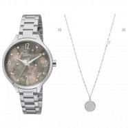 b3c16a570 Kit Relógio Allora Feminino Prata com Colar e Brinco