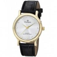 Relógio Champion Feminino Dourado com Strass Pulseira Couro