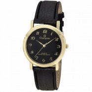 Relógio Fem Dourado c/Pulseira de Couro Fundo Preto Champion
