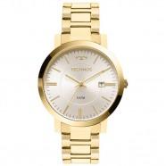 e4dfc7624c242 Relógio Feminino Dourado Technos Elegance Fundo Prata Aço