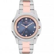 801d4c9b96d Relógio Feminino Prata e Rose Technos Fundo Azul com Pedras