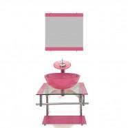 Gabinete de Vidro 40cm para Banheiro Croácia Rosa Ekasa