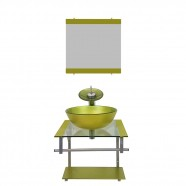 Gabinete de Vidro para Banheiro Croácia Verde Oliva Ekasa