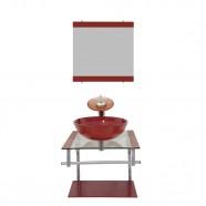 Imagem - Gabinete Vidro para Banheiro Croácia Vermelho Cereja Ekasa cód: MKP000515000071