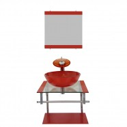 Gabinete Vidro para Banheiro Croácia Vermelho Ferrari Ekasa