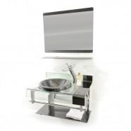 Imagem - Gabinete de Vidro 70cm para Banheiro Turquia Grafite Ekasa cód: MKP000515000130