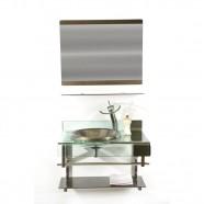Gabinete de Vidro 70cm para Banheiro Turquia Ouro Ekasa