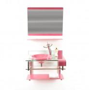 Imagem - Gabinete de Vidro 70cm para Banheiro Turquia Rosa Ekasa cód: MKP000515000183
