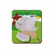 Quebra Cabeça Baby Elefante 3 Peças Abc Brinquedos