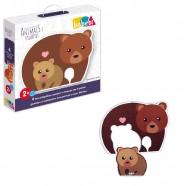 Quebra Cabeça Animais e Filhotes Urso Abc Brinquedos