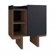 Imagem - Gabinete para Banheiro com Tampo 1 Porta Preto/madeirado cód: MKP000628077280