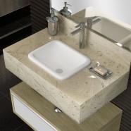 Imagem - Bancada Porcelanato para Banheiro 80cm Max Blu Lavatórios Travertino cód: MKP000628091045