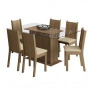 Imagem - Sala de Jantar MollyTampo de Vidro com 6 Cadeiras Madesa cód: MKP000631000284
