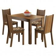 Conjunto Sala Jantar Mesa Tampo Madeira 4 Cadeiras Madesa