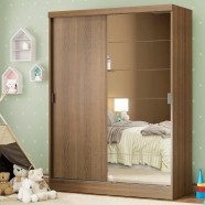 Imagem - Guarda roupa Infantil Madesa Luke 2 Portas de Correr com Espelho Rustic cód: MKP000631000951