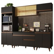 Imagem - Cozinha Completa Madesa Reims 260002 Com Armário E Balcão - Preto/rustic cód: MKP000631001760