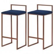 Imagem - Kit 2 Banquetas Decorativa Jasmine Base Bronze Veludo Azul cód: MKP000671007317