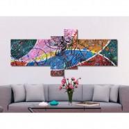 Imagem - Quadro Painel Decorativo com Touro Abstrato 4 Peças Azul Rosa Verde Bege Vermelho cód: MKP000714000082