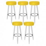 Imagem - Kit 5 Banquetas Decorativa Rubi Pés Branco Suede Amarelo cód: MKP000719002112