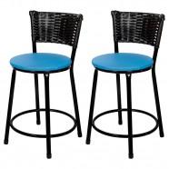 Imagem - Banquetas Baixa Para Cozinha Hawai Preto 2un Assento Azul cód: MKP000767000053