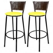 Imagem - Banquetas para Cozinha Café Assento Preto/Amarelo 2un cód: MKP000767000064