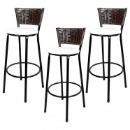 Imagem - Banquetas para Cozinha Hawai Café 3un Assento Preto/Branco cód: MKP000767000077