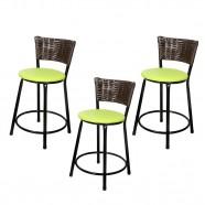 Imagem - Banquetas Baixa para Cozinha Hawai Café 3un Assento Marrom/Verde cód: MKP000767000111