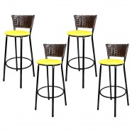 Imagem - Banquetas Para Cozinha Café 4un Assento Amarelo cód: MKP000767000132