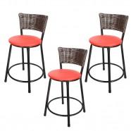 Imagem - Banquetas Baixa para Cozinha Hawai Café 3un Assento Preto/Vermelho cód: MKP000767000439