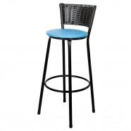 Imagem - Banqueta Alta para Cozinha Hawai Preto Assento Azul cód: MKP000767000704