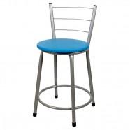 Imagem - Banqueta Baixa para Cozinha Prata Assento Azul cód: MKP000767000735